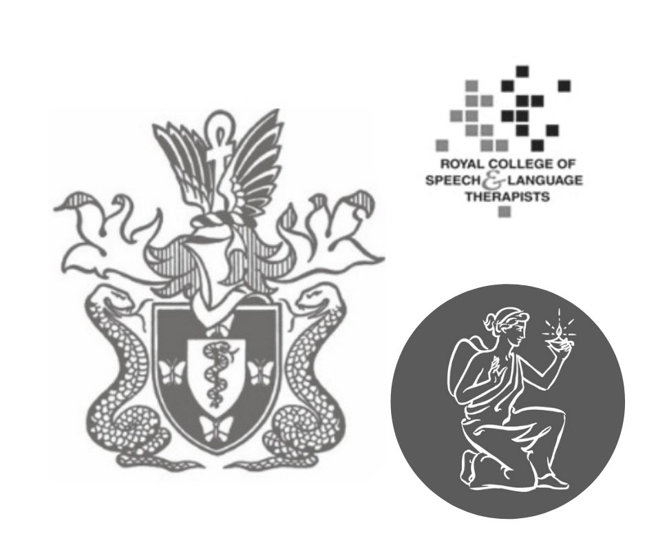 Black and white photo of the logos of Speech and language, psychology and psychiatry governing bodies